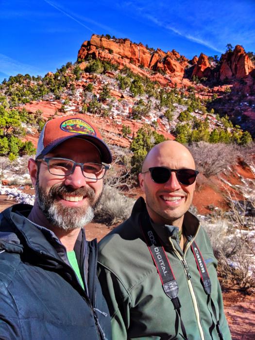 Chris and Rob Taylor hiking Kolob Canyons Zion National Park Utah 1