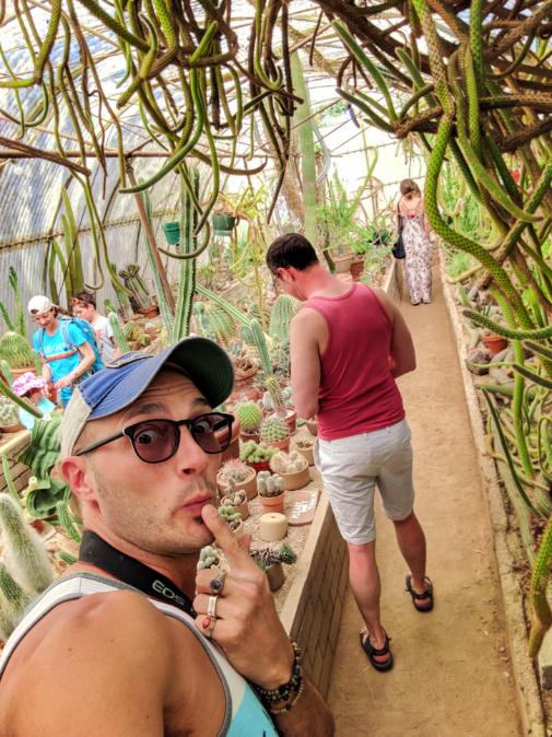 Chris and Rob Taylor in Cactarium at Moorten Botanical Garden Palm Springs California 1b