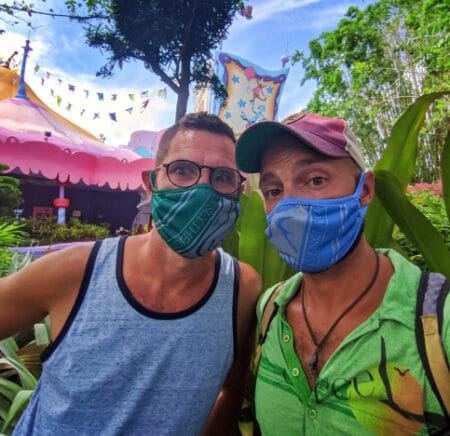 Chris and Rob Taylor in Harry Potter Masks Universal Orlando 2020 1