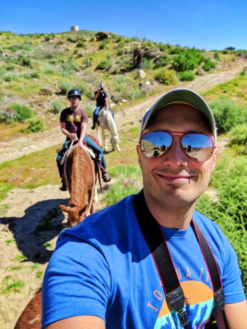Chris and Rob Taylor on Horses at Crazy Horse Ranch Morongo Valley Palm Springs California 1