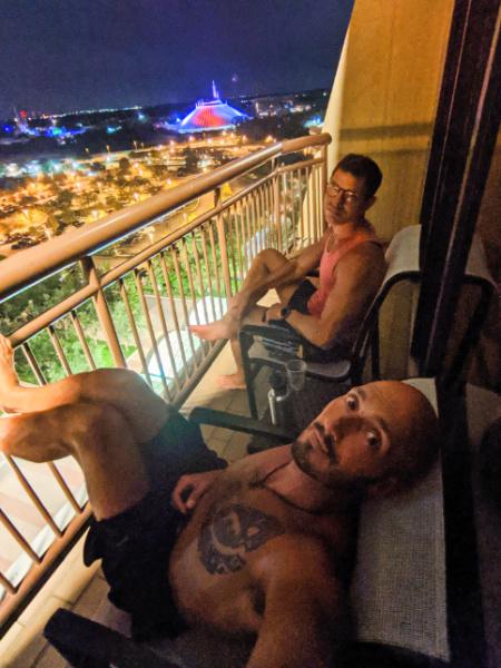 Chris and Rob Taylor on balcony at Disneys Contemporary Resort Disney World 2020 2