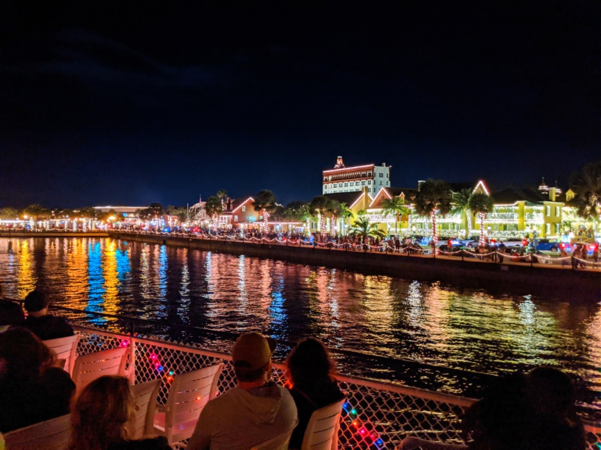 Christmas lights on waterfront at Nights of Lights St Augustine FL 4