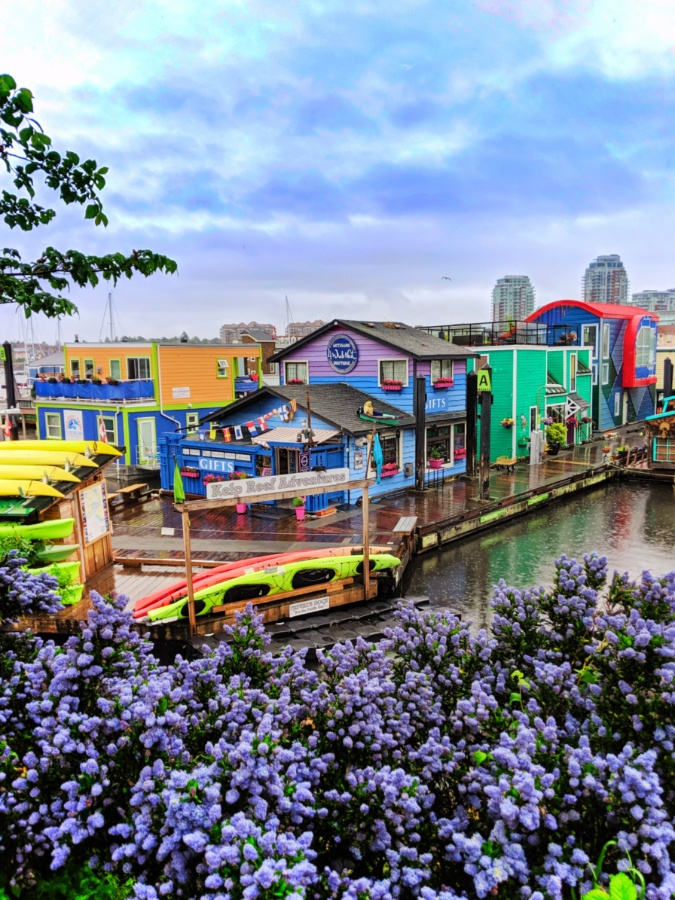 Colorful Fishermans Wharf in the rain Victoria BC 2