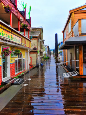 Colorful Fishermans Wharf in the rain Victoria BC 4