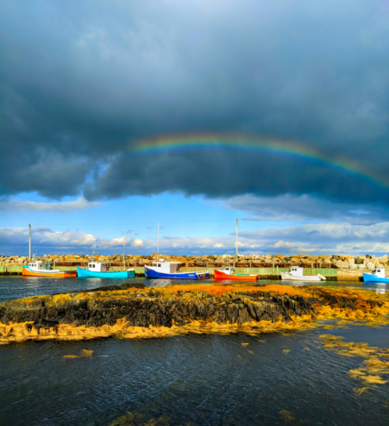 Colorful boats and rainbow at Feltzen South Marina South Shore Nova Scotia 1