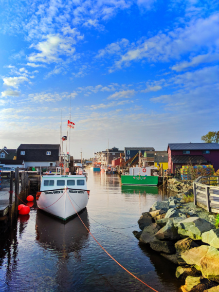 Colorful buildings and boats at Fishermans Cove Halifax Nove Scotia 3