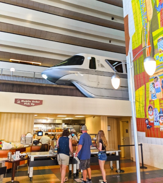 Contempo Cafe Macobile Order with Monorail in Disneys Contemporary Resort Disney World 2020 2