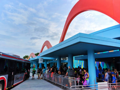 Crowds waiting for Magic Kingdom shuttles at Art of Animation Resort Disney World Florida 2
