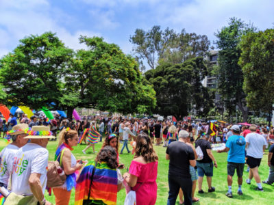 Crowds waiting to get into San Diego Pride Festival Balboa Park 1