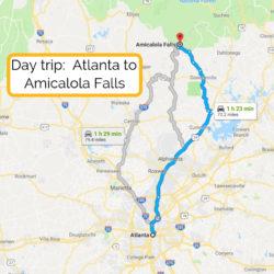 Day trip_ Atlanta to Amicalola Falls map