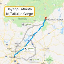 Day trip_ Atlanta to Tallulah Gorge map