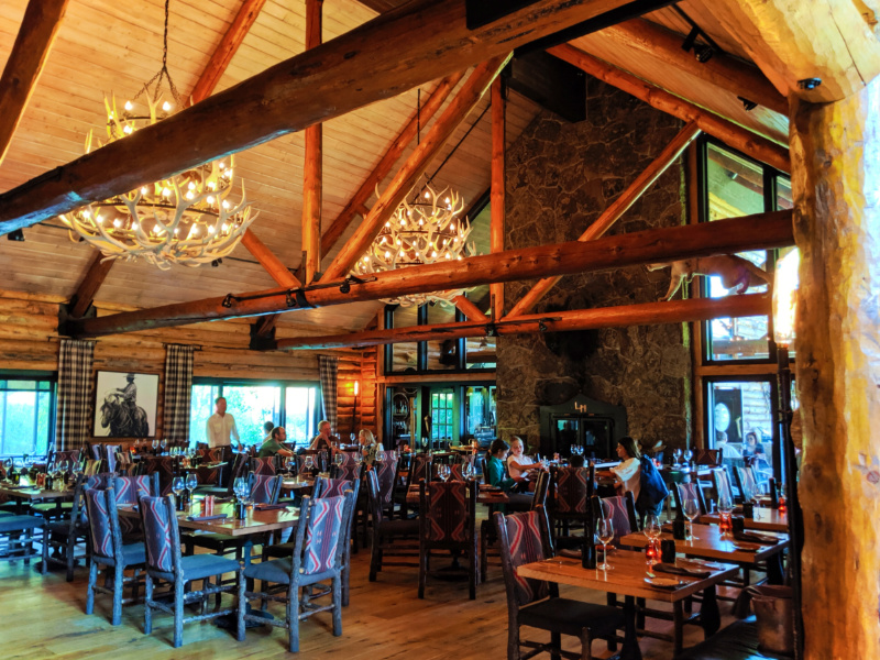 Dining Room Horn and Cantle at Lone Mountain Ranch Big Sky Montana 1