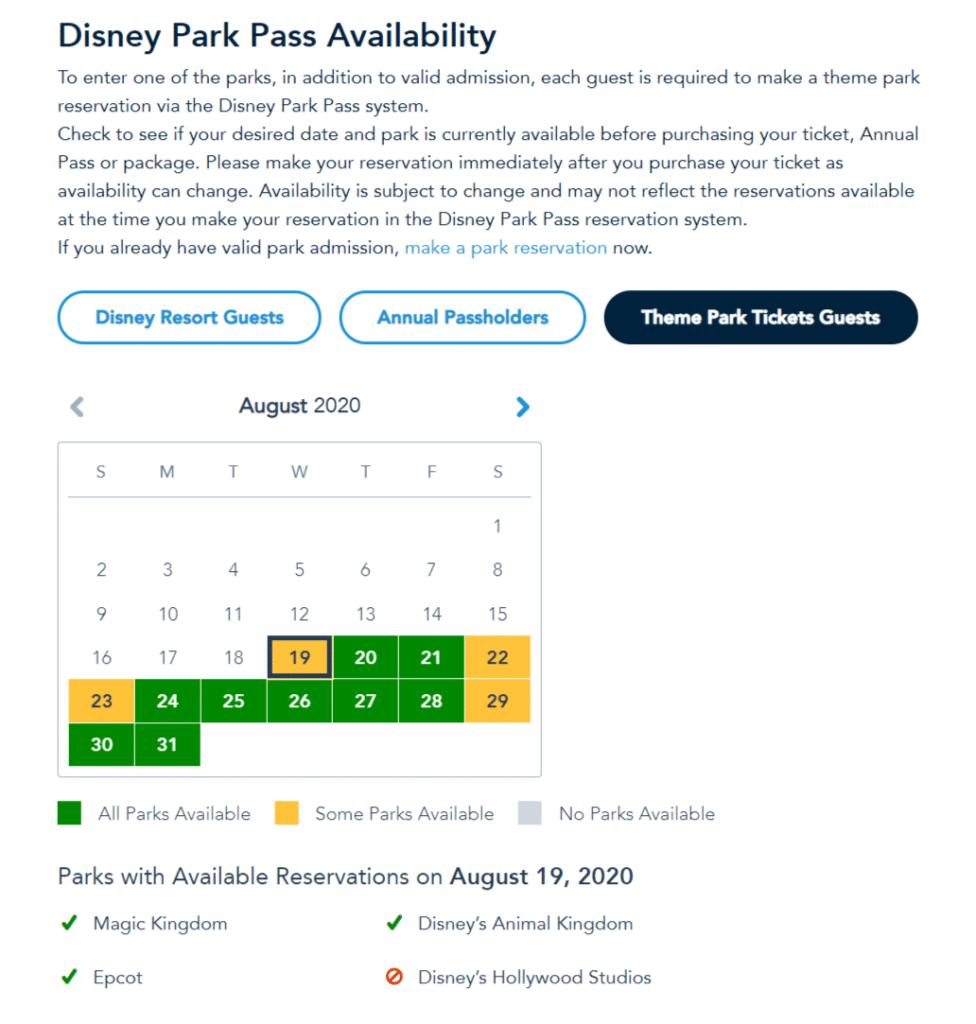Disney World Parks availability calendar 2020 1