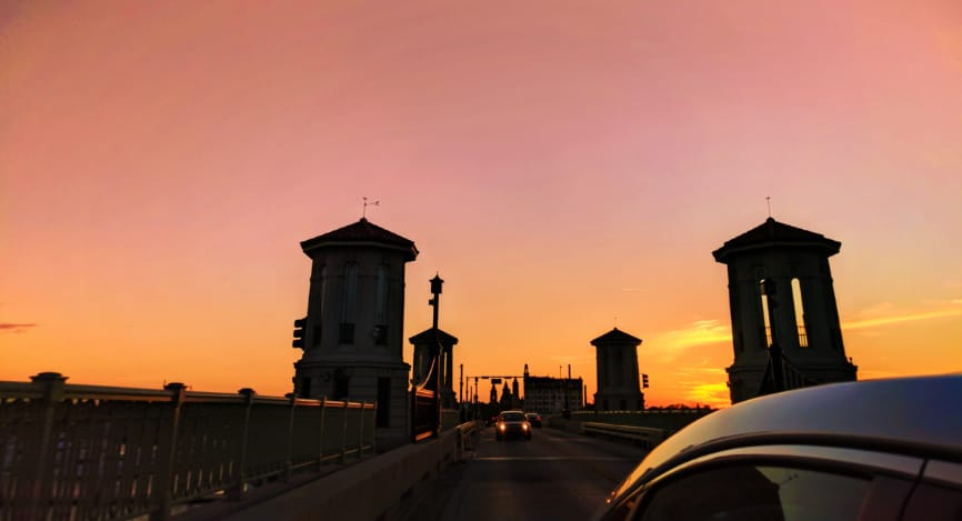 Drawbridge towers of Lions Bridge St Augustine at sunset 1