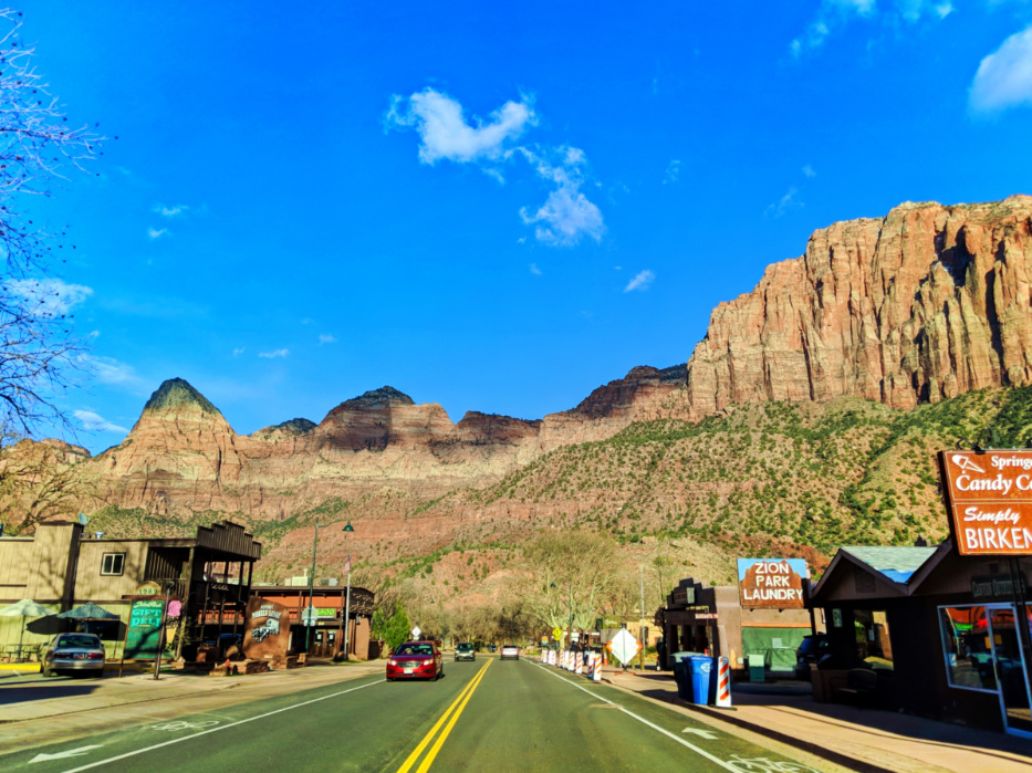 Driving into Zion Canyon Springdale Utah 1