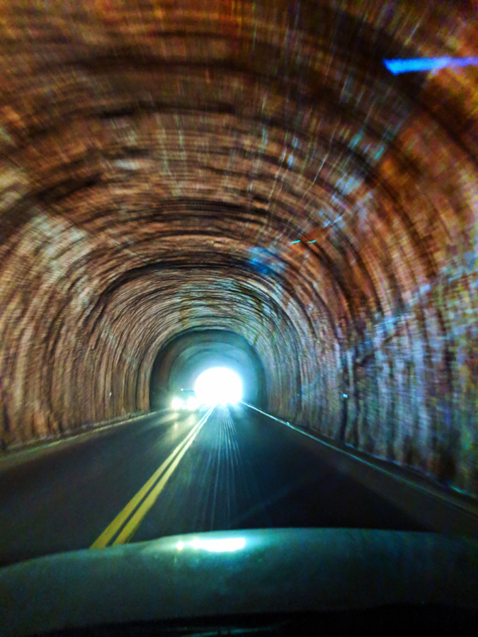 Driving through Zion Mt Carmel Tunnel Zion National Park
