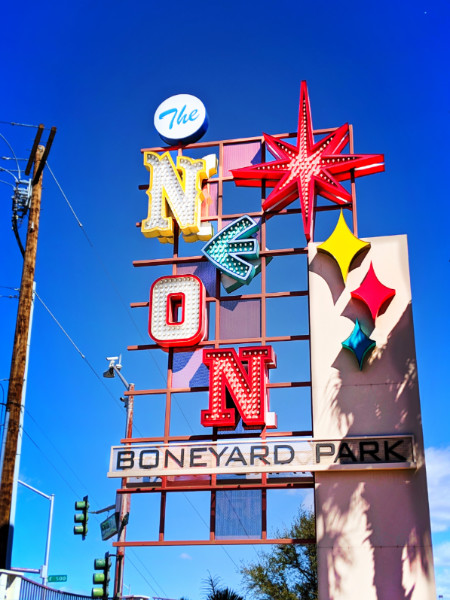 Entrance sign to neon boneyard Neon Museum Las Vegas Nevada 1