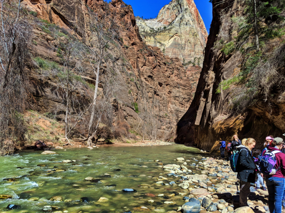 Entrance to the Narrows Virgin River flowing through Zion National Park Utah 4