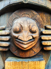 Face on Totem Poles in Pioneer Square Downtown Seattle 1