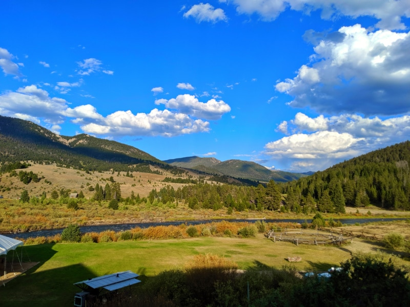 Fall on the Gallatin River from Gallatin River House BBQ Big Sky Montana 1