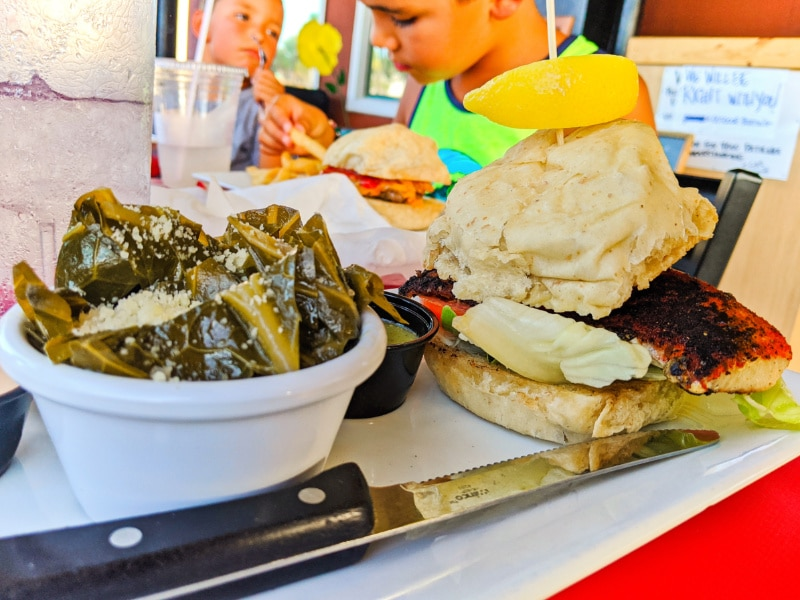 Fish Sandwich and Datil Pepper Collards at GAS Full Service Saint Augustine Florida 2020 1