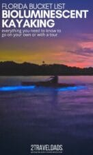 Bioluminescent kayaking in Florida is a bucket list thing to do. Mosquito Lagoon on Indian River is famous for glowing waters and night kayaking. Everything you need to know to go bioluminescent kayaking on your own or with guided tours.