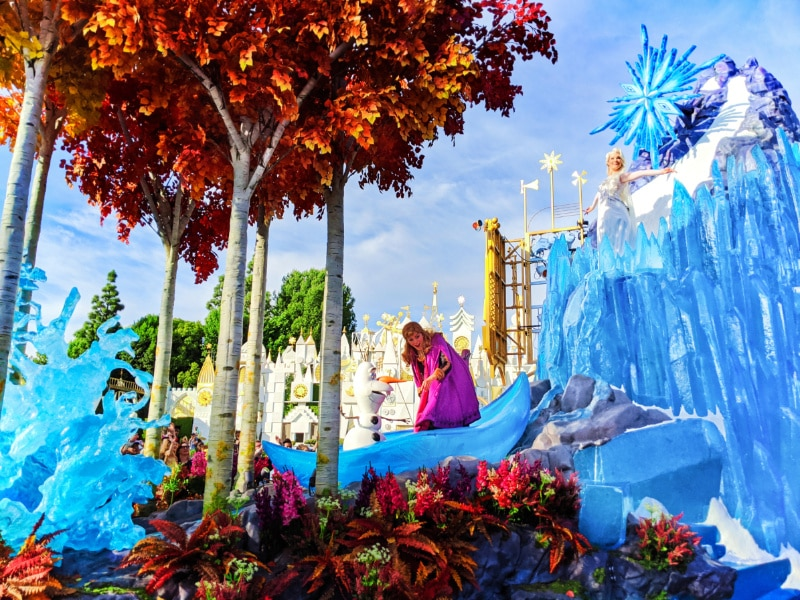 Frozen Float in Magic Happens Parade in front of Small World Disneyland 2020 1