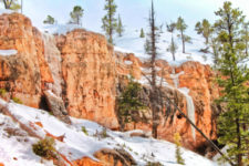 Frozen waterfalls on hoodoos at Mossy Cave trail Bryce Canyon National Park Utah 1