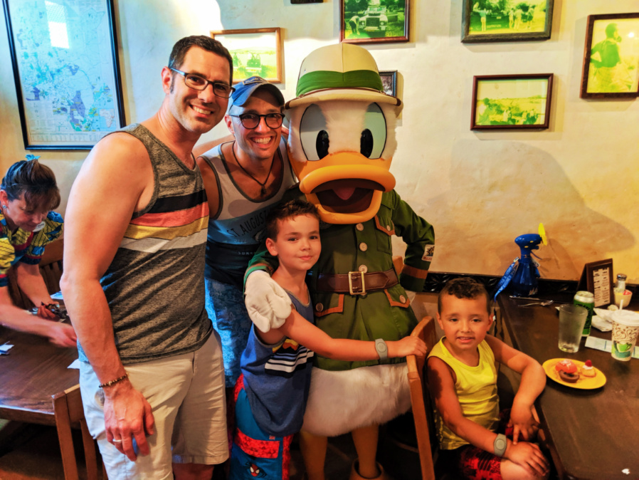 Full Taylor Family Donald Duck character dining at Tusker House Animal Kingdom Disney World Orlando Florida 1