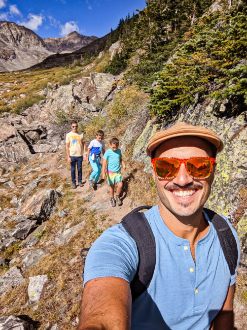 Full Taylor Family Hiking at Blue Lakes White River National Forest Breckenridge Colorado 3