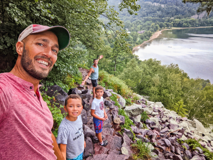 Full Taylor Family Hiking in the rain at Devils Rock State Park Baraboo Wisconsin 3