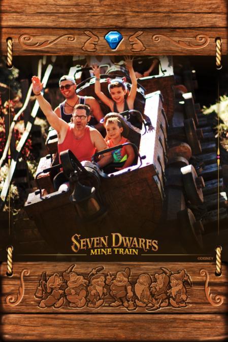 Full Taylor Family PhotoPass on Seven Dwarfs Mine Train Fantasyland Magic Kingdom Disney World Florida 1