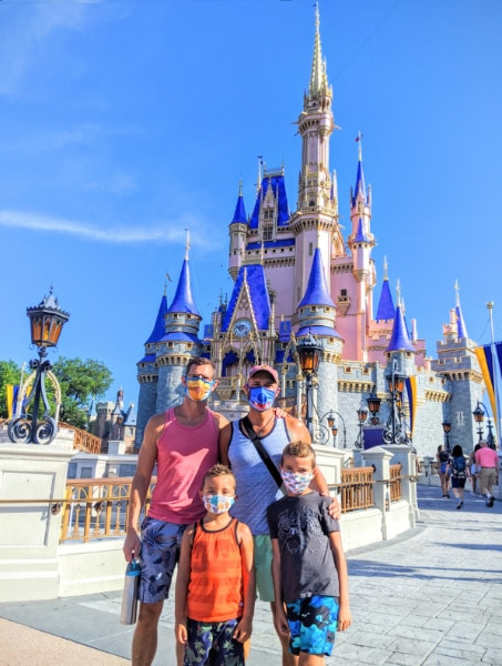Full Taylor Family at Cinderella's Castle Magic Kingdom Disney World Florida 1