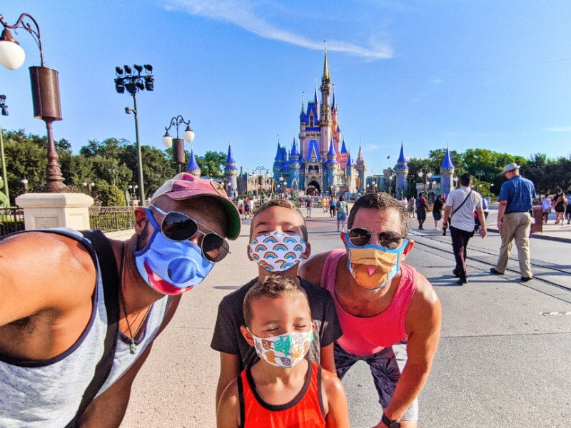 Full Taylor Family at Cinderella's Castle Magic Kingdom Disney World Florida 2