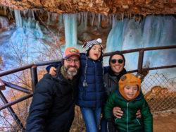 Full Taylor Family at Frozen waterfalls at Mossy Cave Bryce Canyon National Park Utah 2