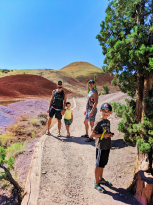 Full Taylor Family at Painted Cove trail Painted Hills John Day Fossil Beds NM Oregon 2