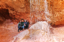 Full Taylor Family at Tropic Ditch Waterfall Mossy Cave Trail Bryce Canyon National Park Utah 1