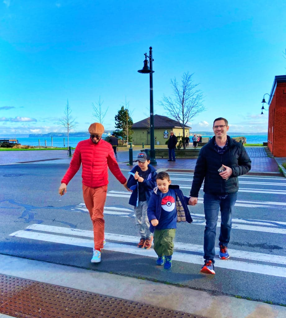 Full Taylor Family crossing street in Port Townsend Washington 2