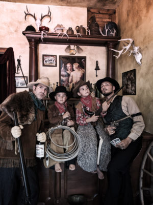 Full Taylor Family dressing in costumes Montana Picture Gallery photo studio Virginia City Montana 3