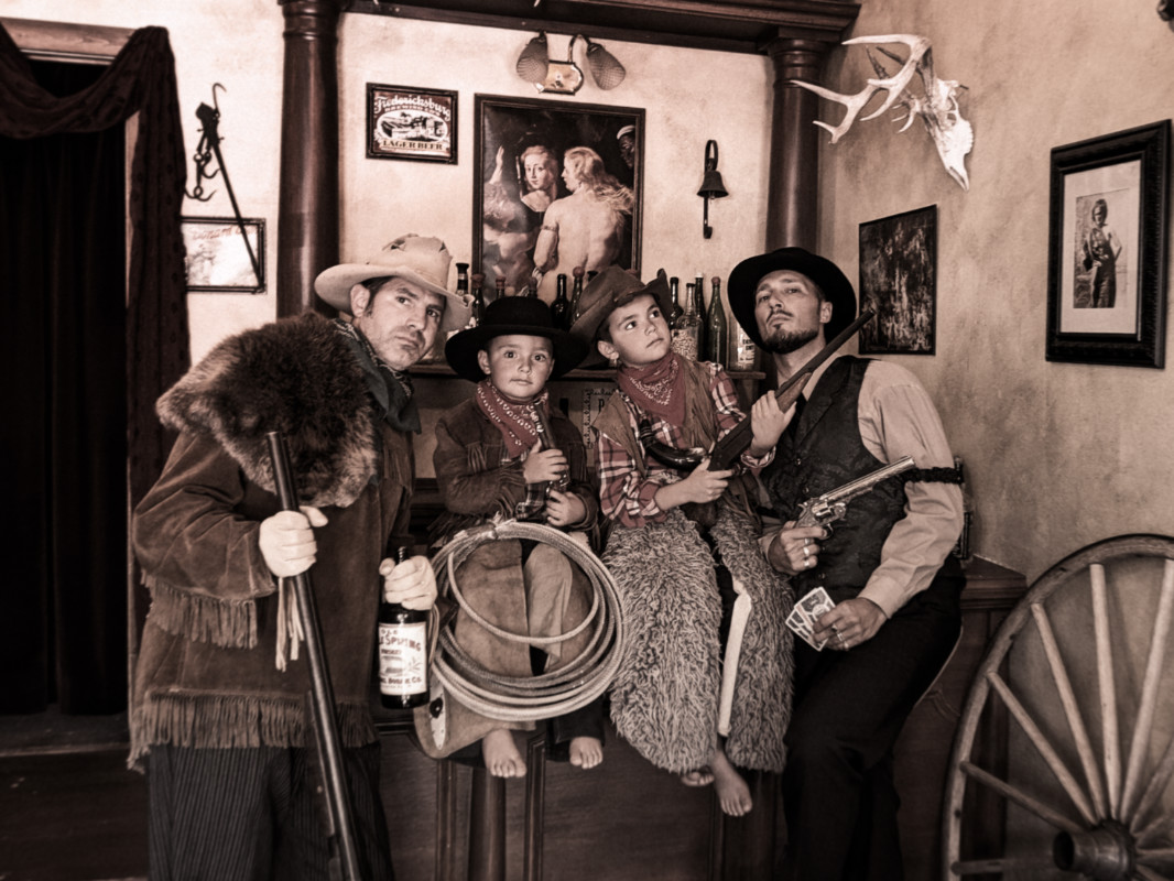 Full Taylor Family dressing in costumes Montana Picture Gallery photo studio Virginia City Montana 4d