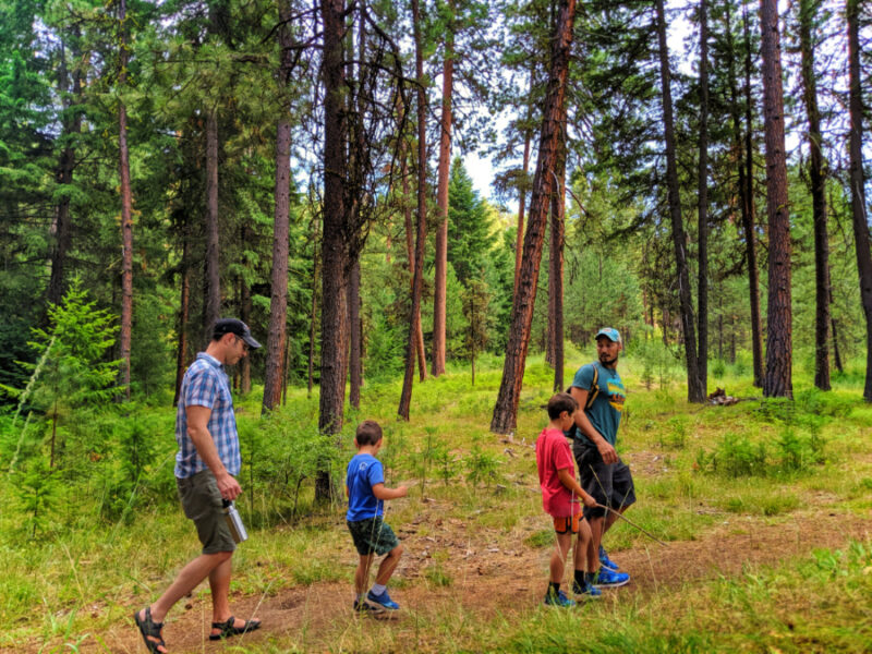 Full Taylor Family hiking Steins Pillar Trailhead outside Prineville Oregon 7