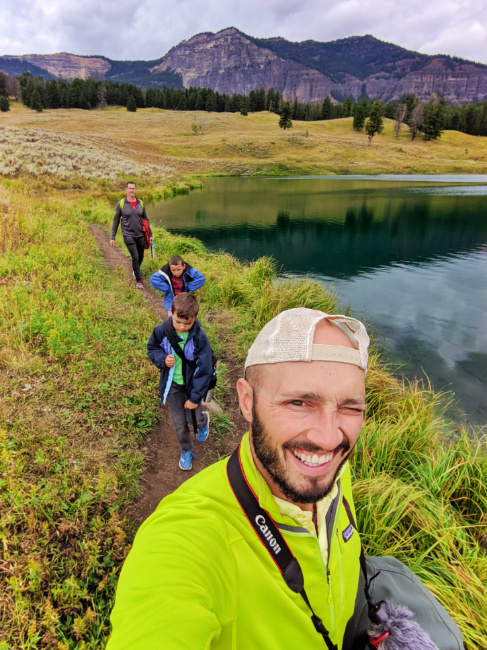 Full Taylor Family hiking Trout Lake Trail Yellowstone NP 5