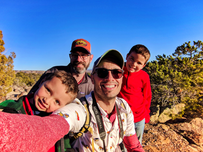 Full Taylor Family hiking at Petrified Forest State Park Escalante Utah 1