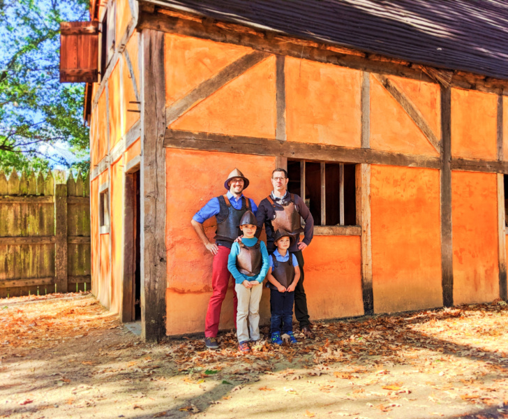 Full Taylor Family in armor in village at Jamestown Settlement Virginia 1