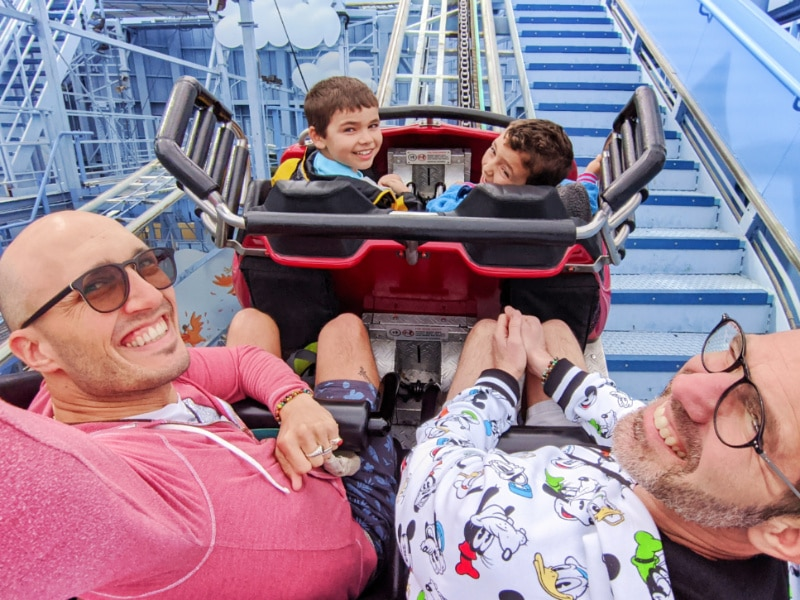 Full Taylor Family on Goofys Sky School California Adventure Disneyland 2020 1