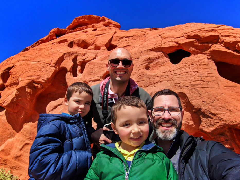 Full Taylor Family on Sandstone at Valley of Fire State Park Utah 1