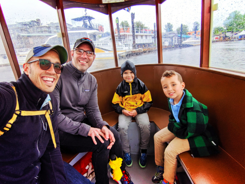 Full Taylor Family on Victoria Harbour Ferry water taxi Victoria BC 2