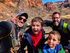 Full Taylor Family on Virgin River flowing through Zion National Park Utah 1
