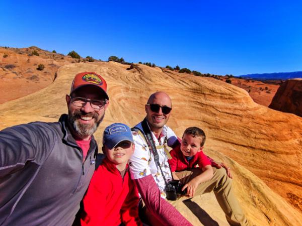 Full Taylor Family on rocks at Devils Garden Grand Staircase Escalante Utah 2