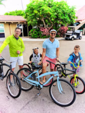 Full Taylor Family riding bikes at Best Western Island Palms Hotel San Diego California 1